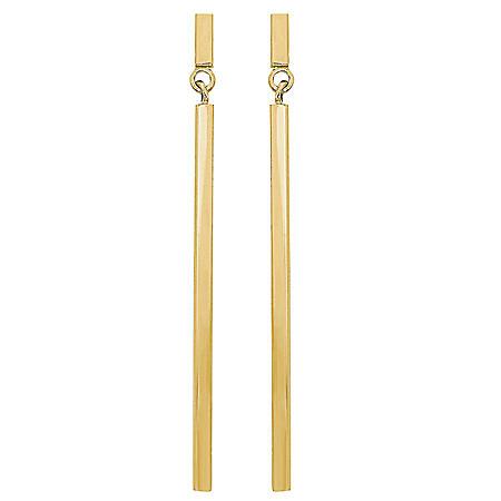 Square Drop Stick Dangle Earrings in 14K Yellow Gold