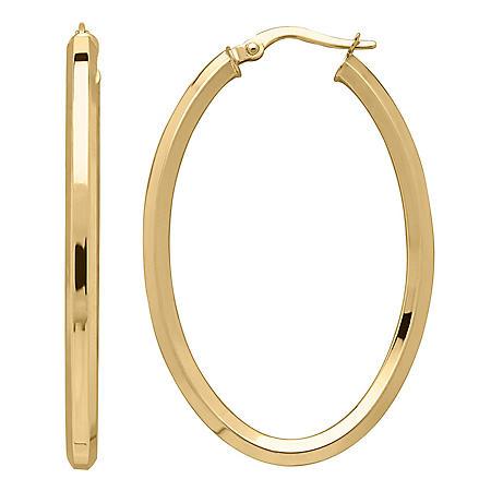 Hexagon Oval Hoop Earrings in 14K Italian Gold
