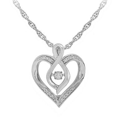 0.10 CT. T.W. Silver Diamond Heart Pendant Necklace (I, I1, IGI Appraisal Value: $135)