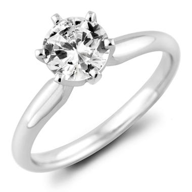 0.96 ct. Round Diamond Solitaire Ring in 18k White Gold with Platinum Head (H, VS2)