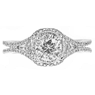1.50 ct. t.w. Round Cut and Pave Diamond Engagement Ring in 14k White Gold (H-I, I1)