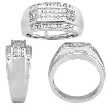 1.00 CT. T.W. Men's  Diamond 14 Karat White Gold Ring (I, I1)
