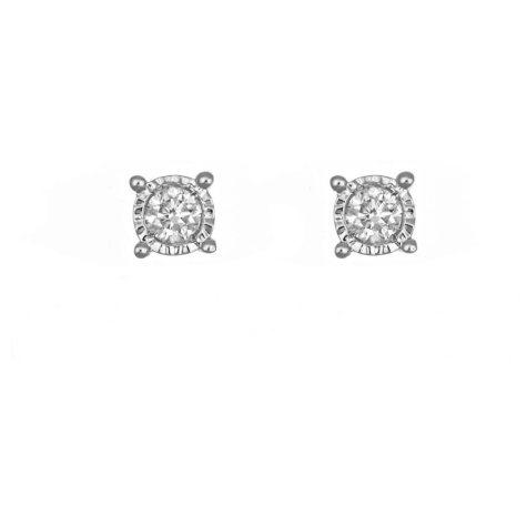 0.18 ct. t.w. Framed Round Diamond Stud Earrings in 14k White Gold (I, I1)