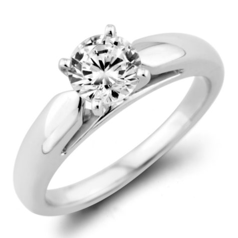 0.47 ct. Round Diamond Solitaire Ring in 14k White Gold (F, I1)