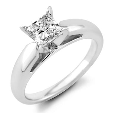 0.96 ct. Princess Diamond Solitaire Ring in 14k White Gold (F, I1)