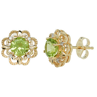 5mm Peridot Earrings With Diamond Accent in 14K Yellow Gold