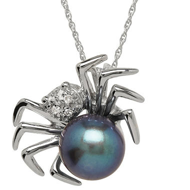 6mm Black Pearl with Diamond Accent Spider Pendant in 14K White Gold