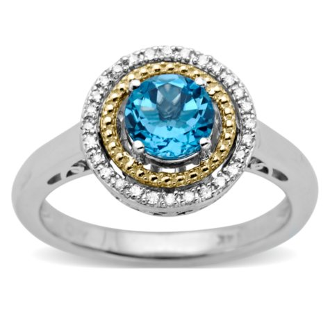 Blue Topaz and Diamond Accent Birthstone Ring in Sterling Silver and 14k Yellow Gold