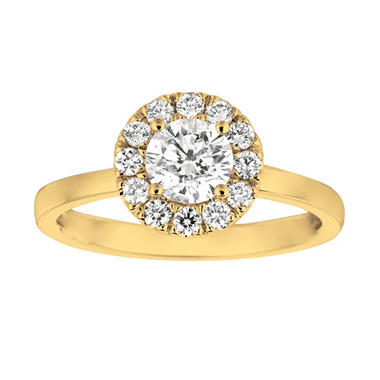OFFLINE1.00 CT. T.W. Round-Cut Diamond Halo Ring in 14K Yellow Gold (I, I1)