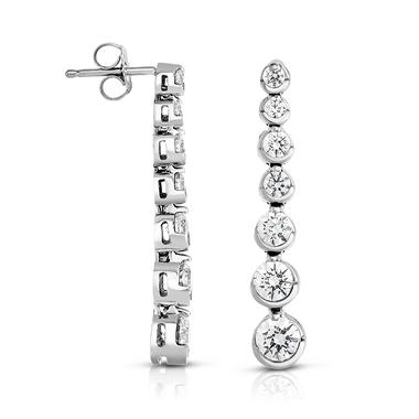1.95 CT. T.W. Diamond Linear Bezel Set Round Earrings in 14K White Gold