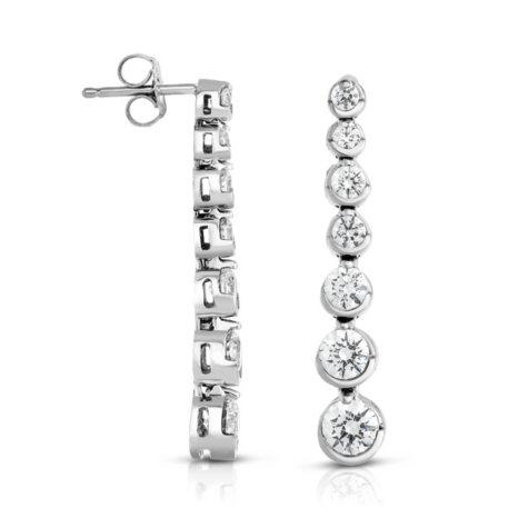1.95 CT. T.W. Diamond Linear Bezel Set Round Earrings in 14K White Gold