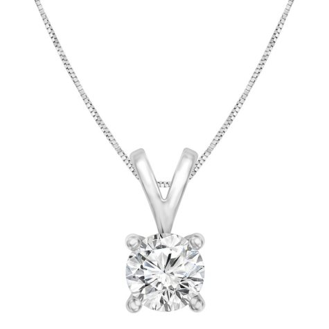 0.96 CT. Round Solitaire Pendant in 14K Gold