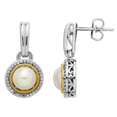 7mm Pearl and Diamond Earrings in 14K Yellow Gold and Sterling Silver