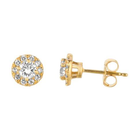 0.50 CT. T.W. Round-Cut Diamond Halo Earrings in 14K Yellow Gold (I, I1)
