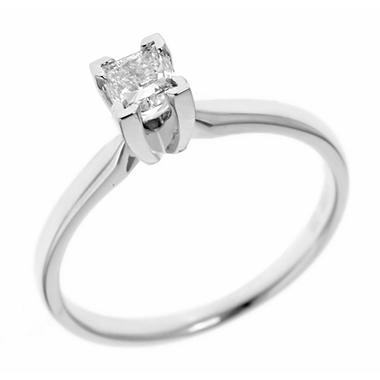 0.72 ct. Princess-Cut Diamond Solitaire in 18k White Gold (H, VS2)
