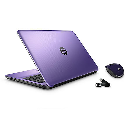 """HP 15.6"""" Touch-screen Notebook Bundle with matching Wireless Mouse & additional USB Drive, Features: AMD A8-7410, 8GB Memory, 750 GB Hard Drive – Colors: Purple, Blue, Silver*FREE UPGRADE TO WINDOWS 10"""