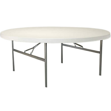 "Lifetime 72"" Round Commercial Grade Folding Table, 12 Pack, White Granite"