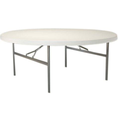 """Lifetime 72"""" Round Commercial Grade Folding Table, 12 Pack, White Granite"""
