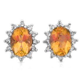 Oval Cut Citrine and White Topaz Earrings in 14K White Gold