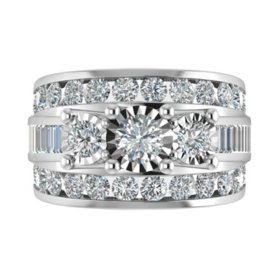 3.95 CT. T.W. Single Center Engagement Ring in 14K White Gold
