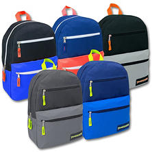Trailmaker 17 Inch Backpack, 3 Pockets, 6 Color Assortment, 24ct.