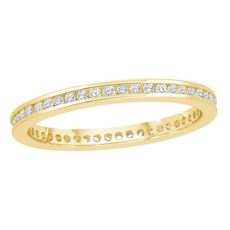 0.25 CT. TW. Round Cut Channel Set Eternity Band 14K White or Yellow Gold
