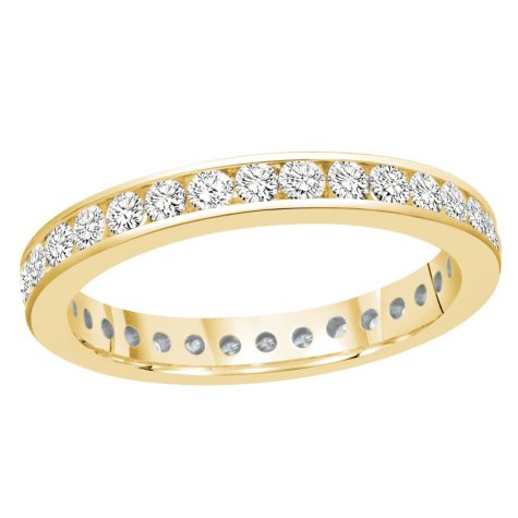 1.00 CT. TW. Round Cut Channel Set Eternity Band - 14K White or Yellow Gold