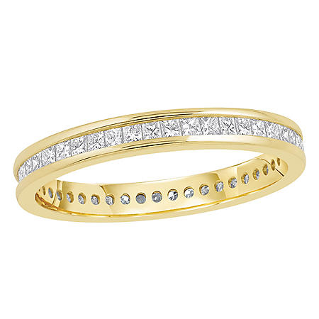 0.50 CT. TW Princess Cut Channel Set Eternity Band - 14K White or Yellow Gold
