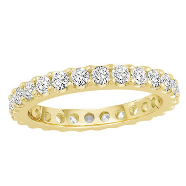 1.50 CT. TW. Round Cut Prong Set Eternity Band - 14K White or Yellow Gold