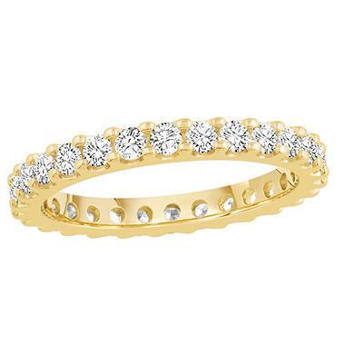 1.00 CT. TW. Round Cut Prong Set Eternity Band - 14K White or Yellow Gold