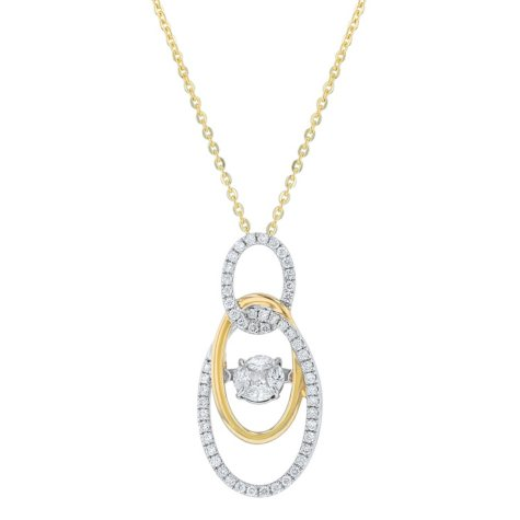 S Collection 0.50 CT. T.W. Inter-Linked Ovals Pendant in 14K Yellow & White Gold