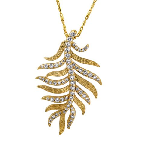 0.60 CT. T.W. Diamond Leaf Necklace in 14K Yellow Gold