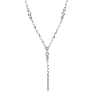 0.25 CT. T.W. Diamond Lariat Necklace in 14K White Gold