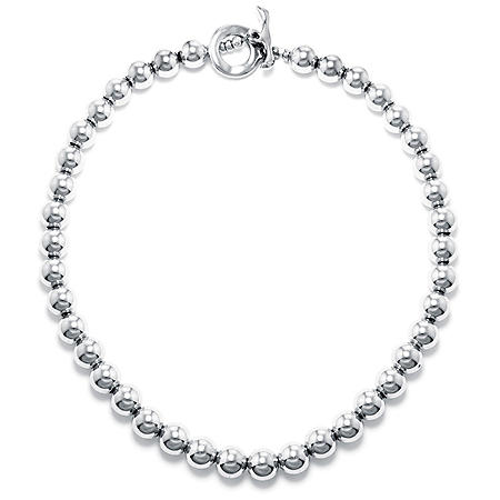 Sterling Silver 10MM Beaded Necklace