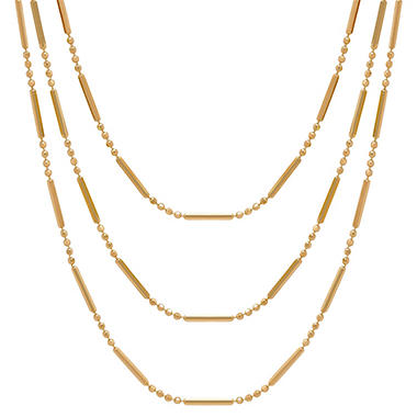Triple Layered Textured Necklace in 14K Yellow Gold