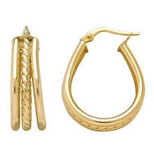 Italian Textured Hoop Earrings
