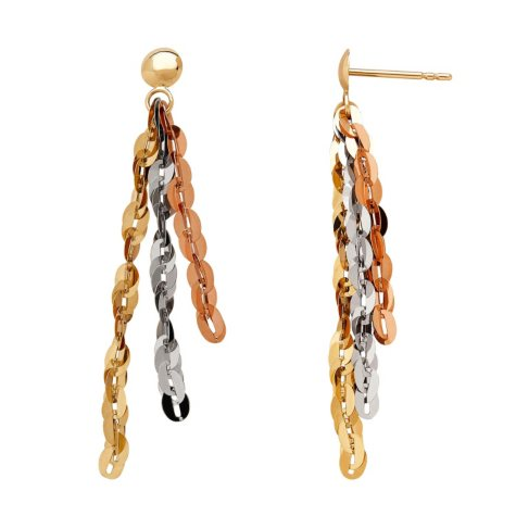 14K Tri-Tone Strand Earrings