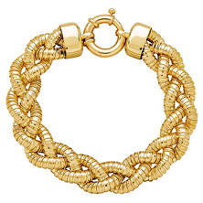 Braided Tubogas Bracelet in Italian 14K Yellow Gold