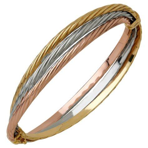 14K Tri-Tone Gold Twist Hinge Bracelet