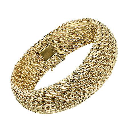 Italian 14K Yellow Gold 3-Row Woven Bracelet