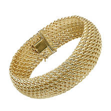 Italian 14K Yellow Gold 3-Row Woven Bracelet