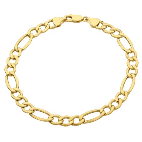14K Yellow Gold Figaro Chain Bracelet - 9""