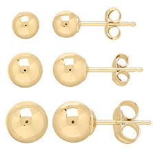 14K Yellow Gold 4-6 mm Ball Stud Set