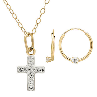 Children's 14K Yellow Gold Swarovski Crystal Cross Necklace and Endless Earring Set