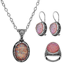 Sterling Silver Pink Quartz 3 Piece Set (Assorted Ring Sizes)