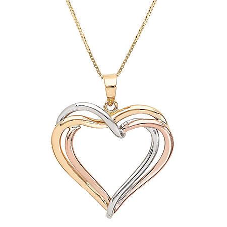 14K Yellow Gold Triple Heart Drop Pendant Necklace