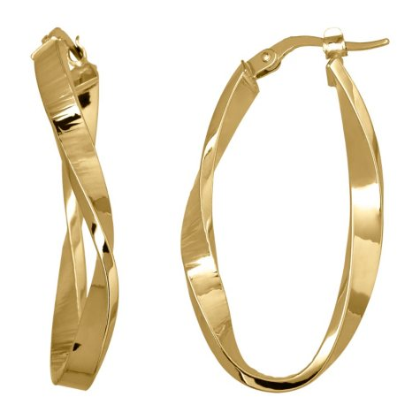14K Yellow Gold Curved Oval Hoop Earrings