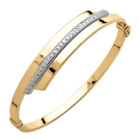 14K Gold Two-tone Bypass Bangle