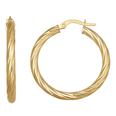 14K Yellow Gold 25 mm Twisted Round Hoop Earrings