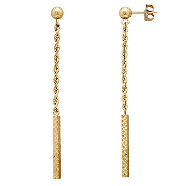 14K Yellow Gold Rope Twist Dangle Earrings